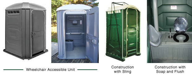Wheelchair accessible and construction portable toilet